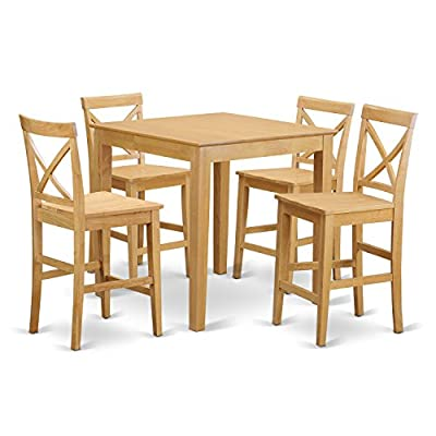 East West Furniture PUBS5-OAK-W 5-Piece Counter Height Table Set, Oak Finish - 5 piece Pub set with 36in Square Counter Height Table and 4 wood seat stools in Oak finish. Brand name dining set which crafted from 100% Asian Hardwood. Simply no MDF, veneer, laminate used in our goods. The kitchen bar stool provides an engaging X-backs along with a choice of wood seats or upholstered seats. - kitchen-dining-room-furniture, kitchen-dining-room, dining-sets - 51ouPdkRANL. SS400  -