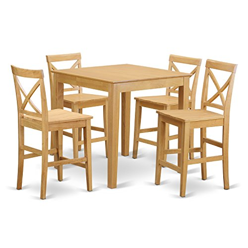 - East West Furniture PUBS5-OAK-W 5-Piece Counter Height Table Set, Oak Finish