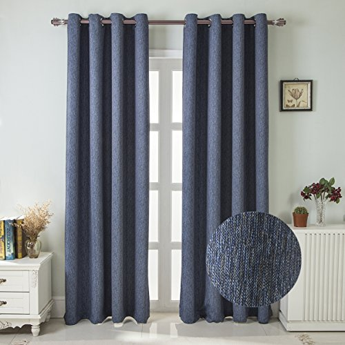 Cheap PTUHSTE Print Grommet Room Darkening Thermal Insulated Blackout Curtain 2 Panels Blackout Curtains 52×84 Navy Blue