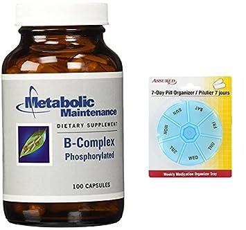 Complejo B mantenimiento metabólico fosforilado cápsulas Veg, cuenta 100 con gratis 7 días plástico píldora