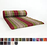 Leewadee Roll Up Thai Mattress, 79x30x2 inches, Kapok Fabric, Green Red, Premium Double Stitched