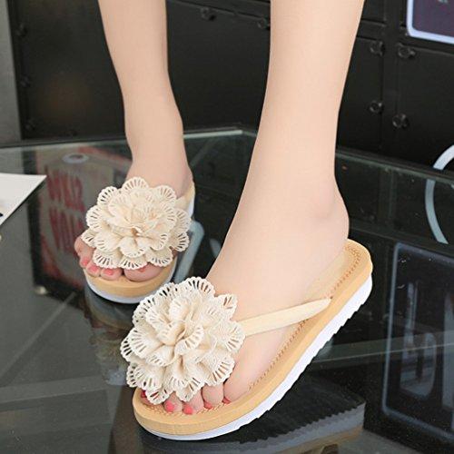 Sentao Bohemia Flores Zapatos Sandalias Mujeres Playa Zapatos Flip Flops zapatillas Beige
