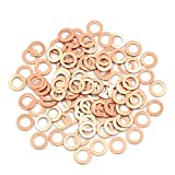 X AUTOHAUX 100 Pcs 8mm Inner Diameter Copper Washers Flat Sealing Gasket Rings for Cars
