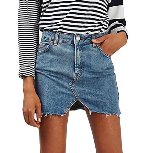 UOFOCO Women's Short Jean Skirt High Waist Casual A-Line Denim Distressed Bodycon