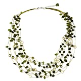 "NOVICA Peridot and Dyed Cultured Freshwater Pearl Strand Necklace, 20"" with 2"" Extender 'Cool Shower'"