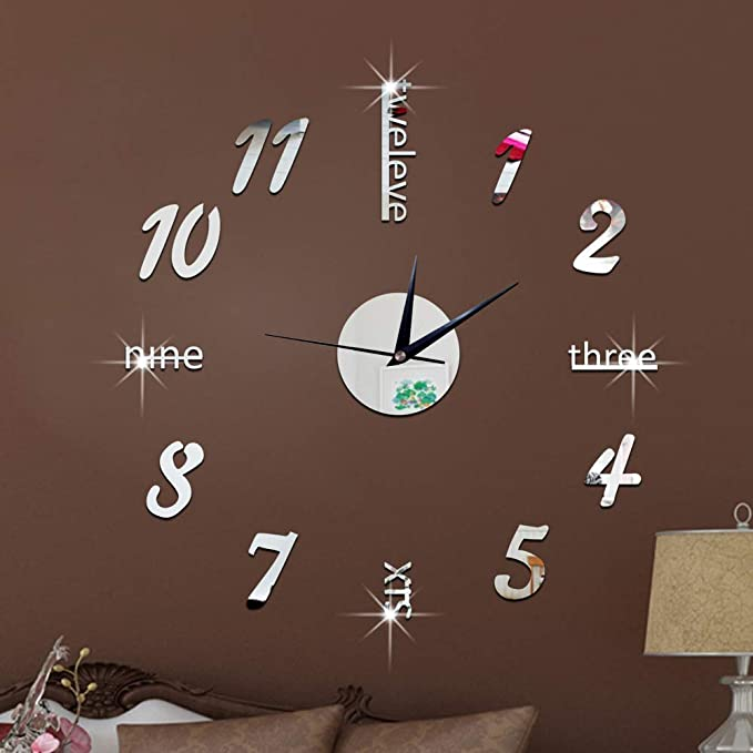 Amazon.com: IBalody Acrylic Frameless Large 3D DIY Wall Clock Mute Mirror Effect Stickers Home Office School Decoration Modern Living Room Silent Creative ...