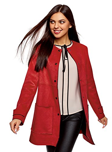 Suede Two Pocket Coat - oodji Ultra Women's Faux Suede Coat with Patch Pockets, Red, 2