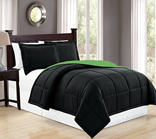 Mk Collection 3pc Full/Queen Down Alternative Comforter Set Reversible Black/Lime Green New