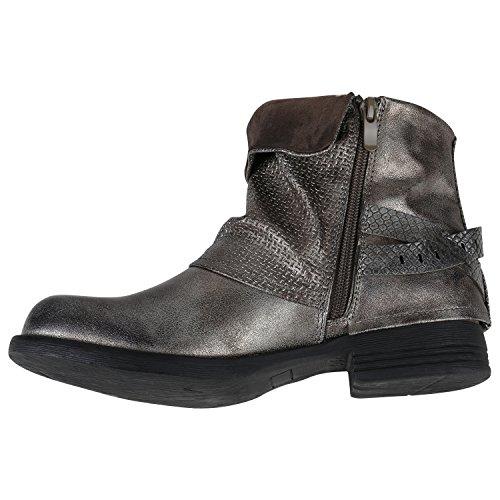 Stiefelparadies Damen Stiefeletten Metallic Biker Boots Leicht Gefütterte  Stiefel Block Absatz Booties Schnallen Schuhe Damenschuhe Flandell ... 795cdf6866