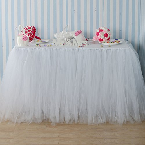 Fivejorya 3.3ft White Tulle Table Skirt Queen Wonderland Tablecloth Skirting Tutu Tablecloth Tableware for Christmas Wedding Baby Shower Birthday Party Cake Dessert Table Decor by Fivejorya