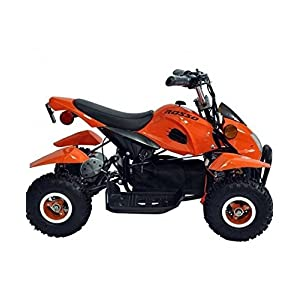 Rosso Motors Kids ATV Kids Quad 4 Wheeler Ride On with 500W 36V Battery Electric Power Lights in Orange Motorcycle for Kids, Disc brake system for Child Safety
