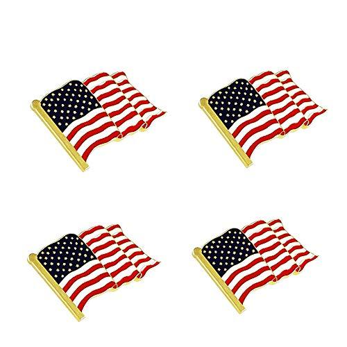 NONOSIZE 4 Pcs American Flag Lapel Pin Metal USA United States Waving Flag Badge