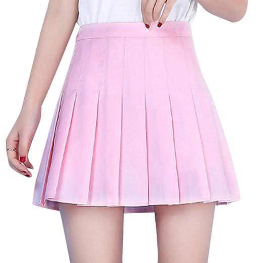 Huaheng Verano Mujeres Mini Falda Plisada Cintura Alta Niña ...