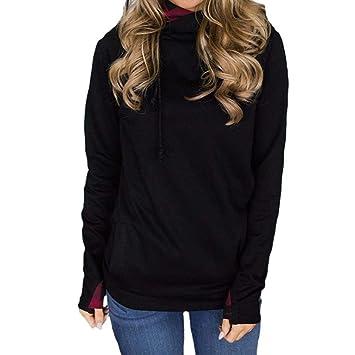 Sudaderas Mujer,❤ Modaworld Sudadera sólida de Manga Larga para Mujer Jersey Blusa Casual Camisa Vestir Outwear Camisas Señoras Camisetas Casual Ropa ...