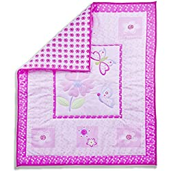 Dream On Me Pink Butterfly and Flower 5 Piece Set Reversible Full Size Crib Bedding Set