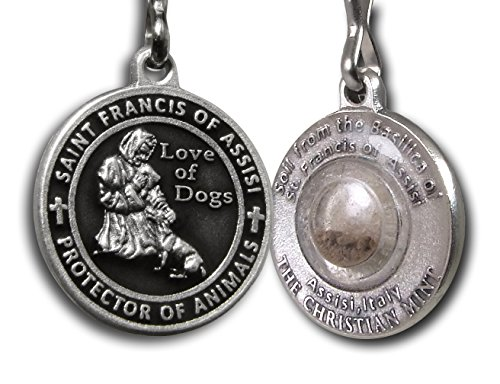 The Christian Mint, LLC St. Francis of Assisi Enameled Pet Medal with Capsule of Assisi Soil (Black)