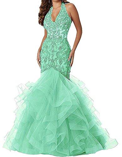 - Women's V Neck Applique Beaded Mermaid Prom Dress Halter Formal Gown