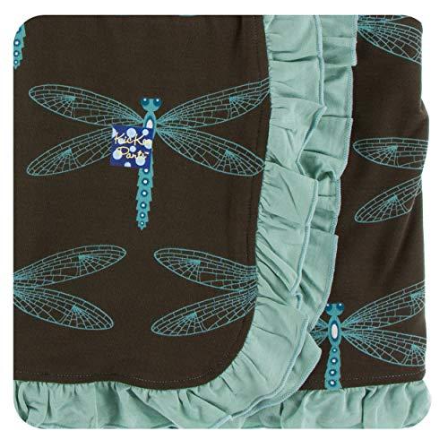 KicKee Pants Little Girls Print Ruffle Stroller Blanket - Giant Dragonfly, One Size