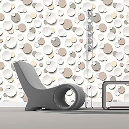 Muriva Just Like It Circles Polka Dot Spots White Textured Designer Wallpaper Brown Beige