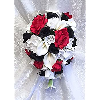 Amazon white red black bridal bouquet roses calla lilies silk white red black bridal bouquet roses calla lilies silk wedding flowers mightylinksfo