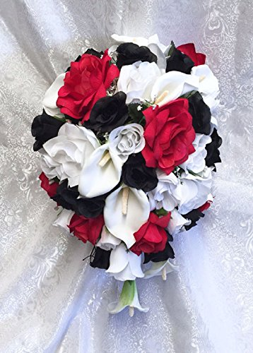 WHITE RED & BLACK Bridal Bouquet Roses Calla Lilies Silk Wedding Flowers by Dorigan Artificial Art Flowers