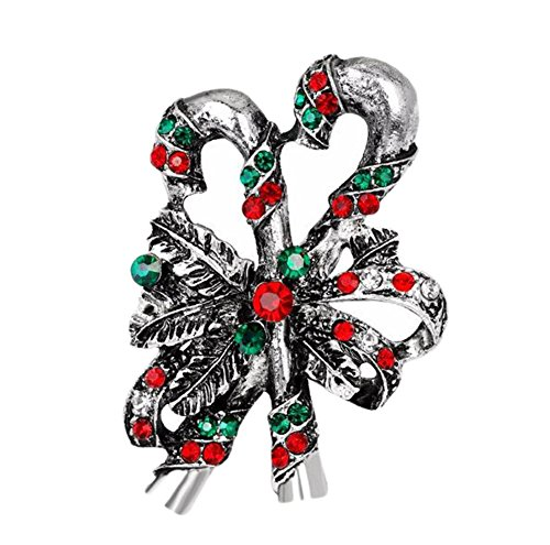 Hosaire Brooch Pin Vintage Christmas Diamond Scarf pin Rhinestones Breastpin for Wedding/Banquet/Bouquet Christmas Gift Silver