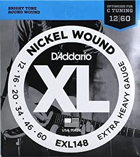 D/'Addario EXL148 Electric Guitar Strings,Designed For Drop C Tuning Gauge 12-60