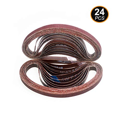 Aiyard 1/2 x 18-Inch Aluminum Oxide Sanding Belts, 40/60/80/120/180/240 Assorted Grits Abrasive File Belts for Air Belt Sander, 24-Pack