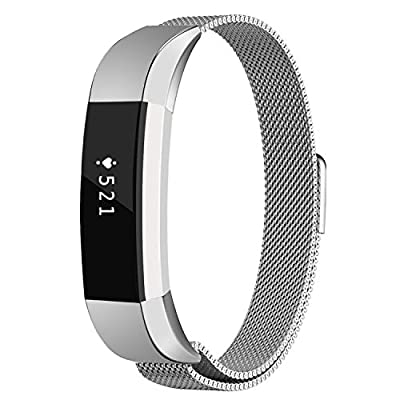 Fitbit Alta HR and Alta Bands Metal, Akale Milanese Stainless Steel Replacement Accessories Metal Small & Large Band for Fitbit Alta HR and Alta, Silver, Gold, Black, Rose Gold …