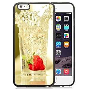 NEW Unique Custom Designed iPhone 6 Plus 5.5 Inch Phone Case With Strawberry Falling In Glass Of Water_Black Phone Case