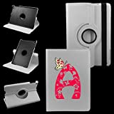iPad Mini Letter (A) Cover Synthetic Leather Rotating Case: 360 Degrees Multi-angle Vertical and Horizontal Stand with Strap (A-White)
