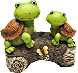 LA JOLIE MUSE Garden Statue Outdoor Figurines Turtles on a Log Patio Lawn Yard Gardening Decor, 9Inch (Turtle)