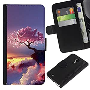 All Phone Most Case / Oferta Especial Cáscara Funda de cuero Monedero Cubierta de proteccion Caso / Wallet Case for Samsung Galaxy S4 Mini i9190 // Cherry Blossom
