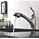 Ufaucet Commercial Stainless Steel Single Lever Single Handle Pull Out Sprayer Prep Brushed Nickel Kitchen Faucets, Kitchen Sink Faucet With Deck Plate