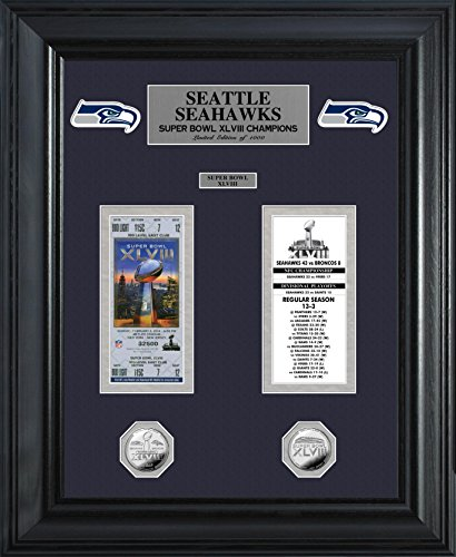 NFL Seattle Seahawks Super Bowl Ticket and Game Coin Collection, 32'' x 27'' x 4'', Silver by The Highland Mint