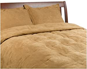 Microsuede Feather Full/Queen Comforter Set, Camel