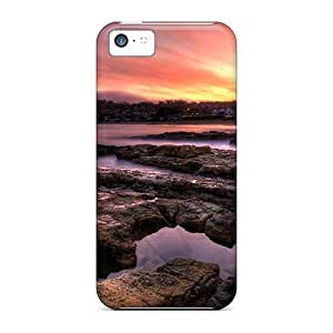 Rugged Skin Case Cover For Iphone 5c- Eco-friendly Packaging(sunset On A Coastal Town)