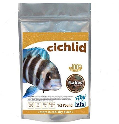YFS Cichlid Tropical Fish Food Large Flakes Aquarium Bulk 1/2 Lb