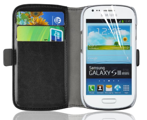 Galaxy S3 Mini Case, JAMMYLIZARD Luxury Edition Leather Wallet Flip Cover for Samsung Galaxy S3 Mini, Black (Leather Samsung S3 Mini compare prices)