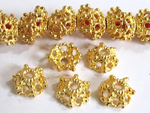 (4 Beads-22 K Gold plated ethnic Tibetan design bead caps 10mm - BD562B)