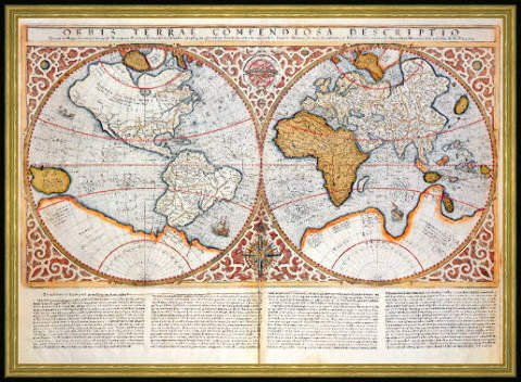 Framed picture gerard mercator double hemisphere world map framed picture gerard mercator quotdouble hemisphere world map 1587quot gumiabroncs Images