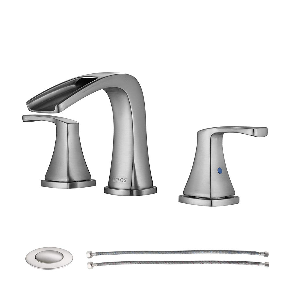 PARLOS Waterfall Widespread Bathroom Faucet Double Handles with Pop Up Drain & cUPC Faucet Supply Lines, Brushed Nickel, Doris 14070 by PARLOS