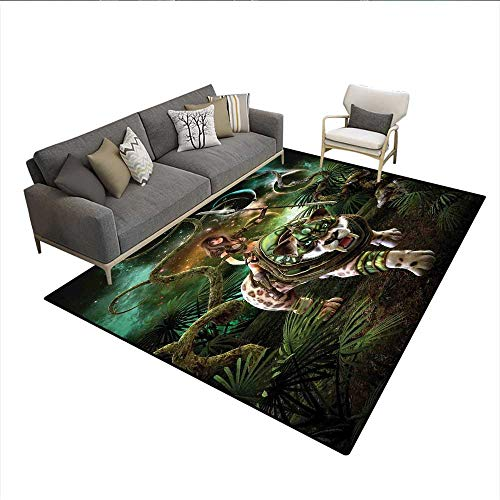 Floor Mat,Graphics of Fantasy Scene with Girl and Saber-Tooth Tiger Magical Plants Galaxy,Rugs for Bedroom,Green ()
