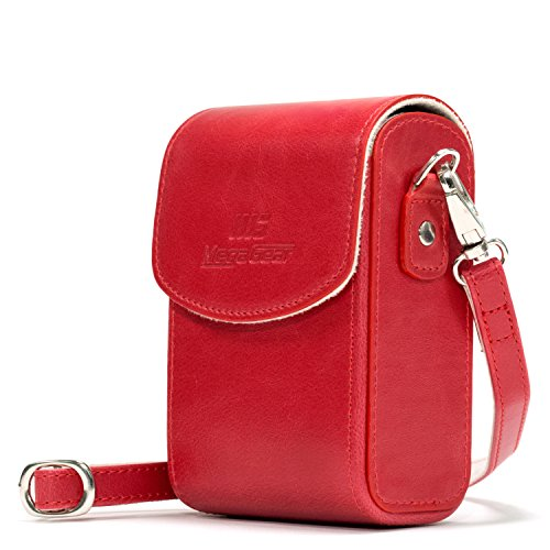 MegaGear Canon PowerShot G7 X Mark II, G7 X Leather Camera Case with Strap - Red - MG1216