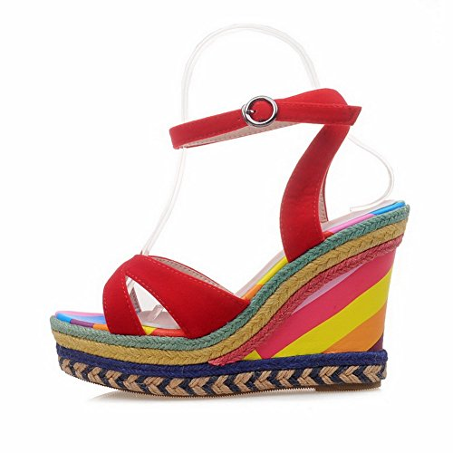 BalaMasa Womens Assorted Colors Non-Marking Mini-Size Urethane Platforms Sandals ASL05116 Red nGUH1