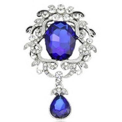 dc3481fa5 Amazon.com: YAZILIND Fashion Flower Inlaid Rhinestones Alloy Zirconia  Pendant Brooch Pin Women Girl Accessories(Blue): Jewelry