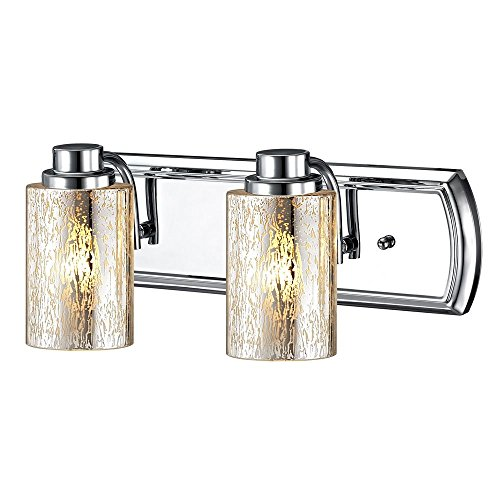 Industrial Mercury Glass 2-Light Vanity Light in Chrome ()