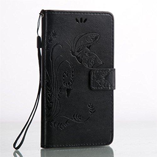 Erdong® Magnético Folio Flip Caso Con pata de cabra titular de la tarjeta Para Huawei Y5 II & Y5 2 5.0, Elegant Simple Book-style [Negro flor de mariposa] patrón de impresión cuero del soporte Folio