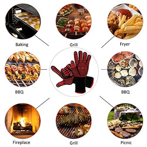 AINIYF Professional Heat Resistant Gloves, Fire Proof Mittens with Forearm Protection,Gloves 1472°F Degree Heat Resistance for Grilling/Welding/Kitchen Cooking/Oven/BBQ, 1 Pair by AINIYF (Image #6)
