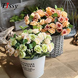 HATABO Branch Vase with Artificial Flowers 10 Heads/Branch Artificial Rose Flowers Silk Flowers Rose Flower Bouquet for Vases Flowers (Random) 14